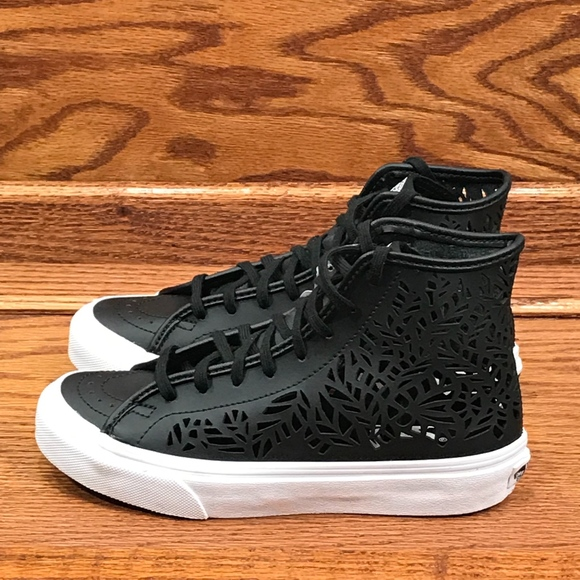 5b2ae5194f Vans Sk8 Hi Decon Cut Out Leaves Black Shoes